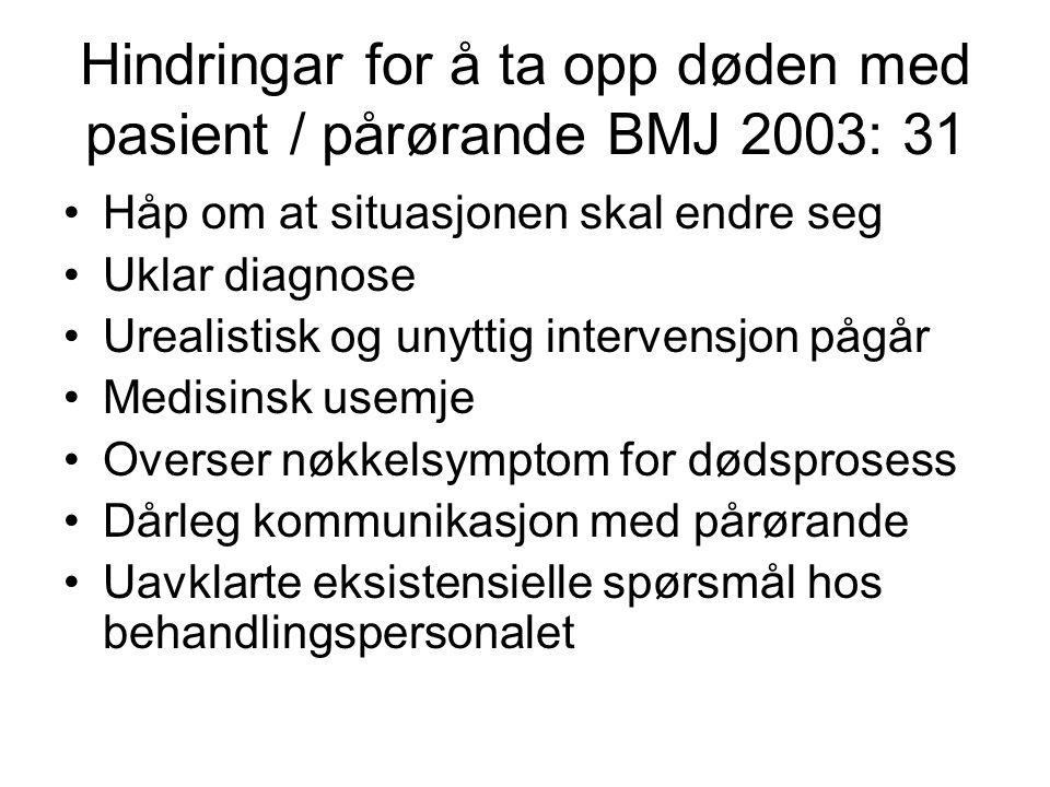 Hindringar for å ta opp døden med pasient / pårørande BMJ 2003: 31