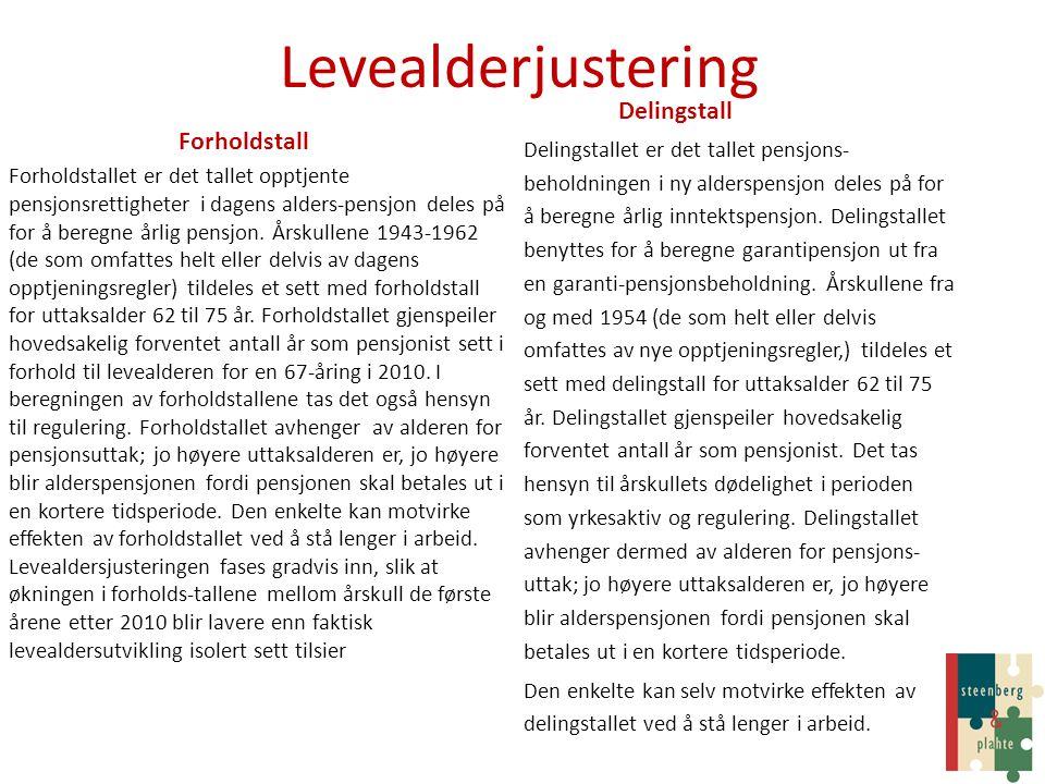 Levealderjustering Delingstall Forholdstall