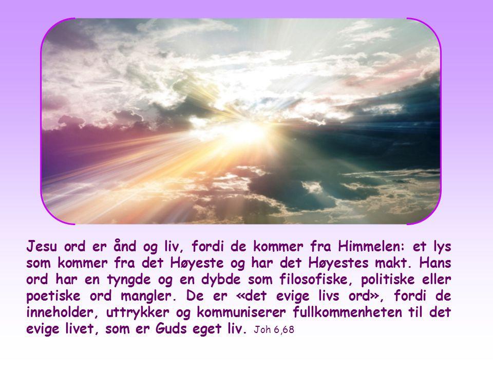 Jesu ord er ånd og liv, fordi de kommer fra Himmelen: et lys som kommer fra det Høyeste og har det Høyestes makt.