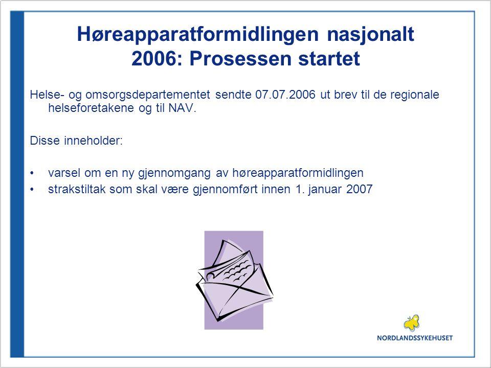 Høreapparatformidlingen nasjonalt 2006: Prosessen startet