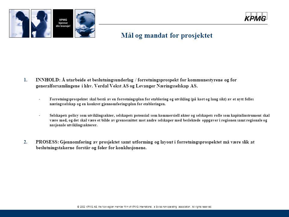 Mål og mandat for prosjektet