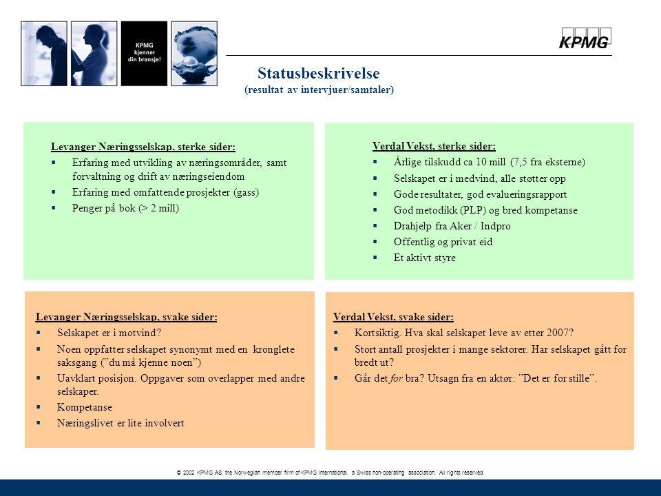 Statusbeskrivelse (resultat av intervjuer/samtaler)