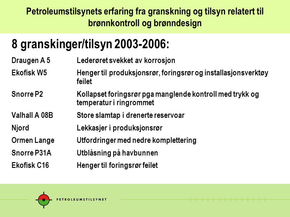 8 granskinger/tilsyn 2003-2006:
