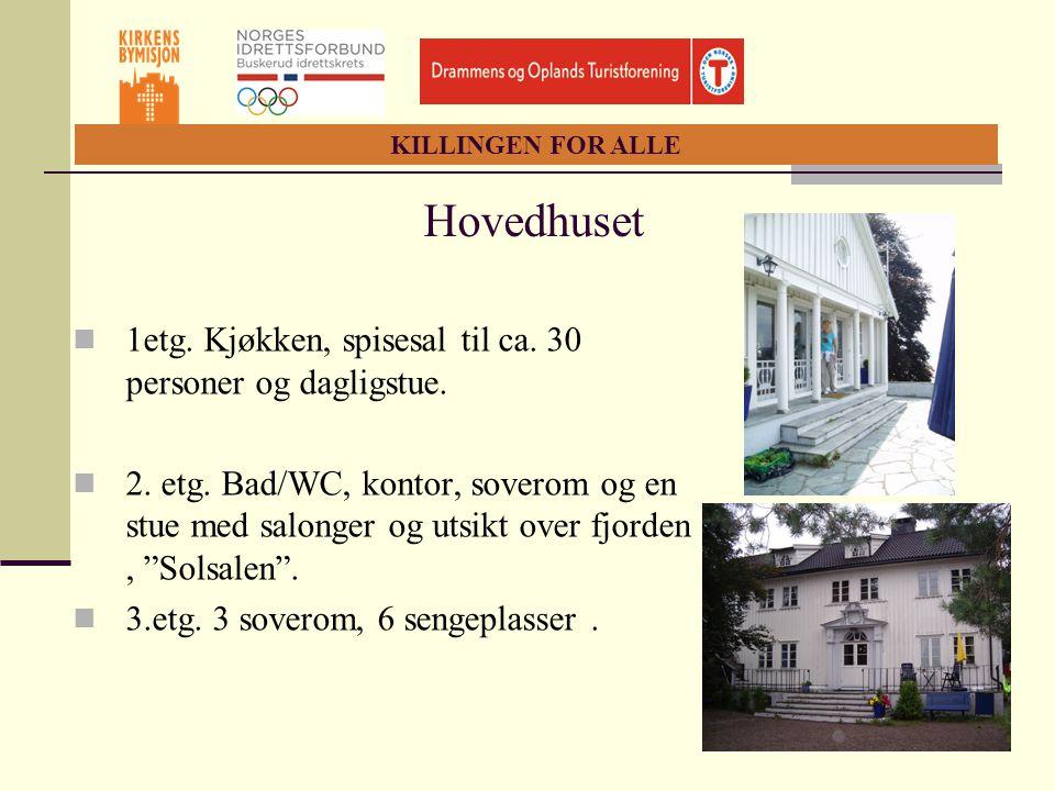 Hovedhuset 1etg. Kjøkken, spisesal til ca. 30 personer og dagligstue.