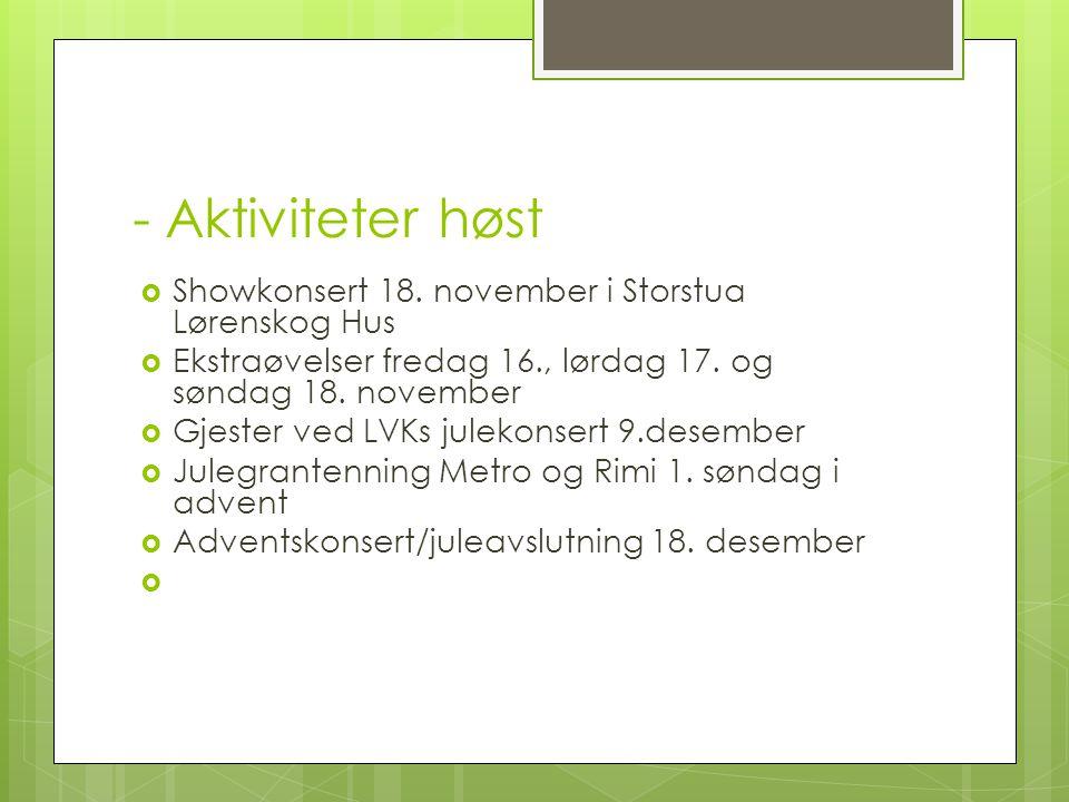 - Aktiviteter høst Showkonsert 18. november i Storstua Lørenskog Hus