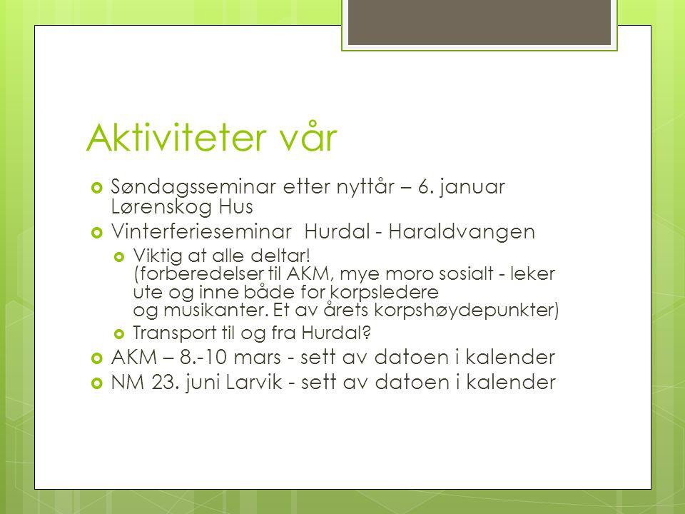 Aktiviteter vår Søndagsseminar etter nyttår – 6. januar Lørenskog Hus
