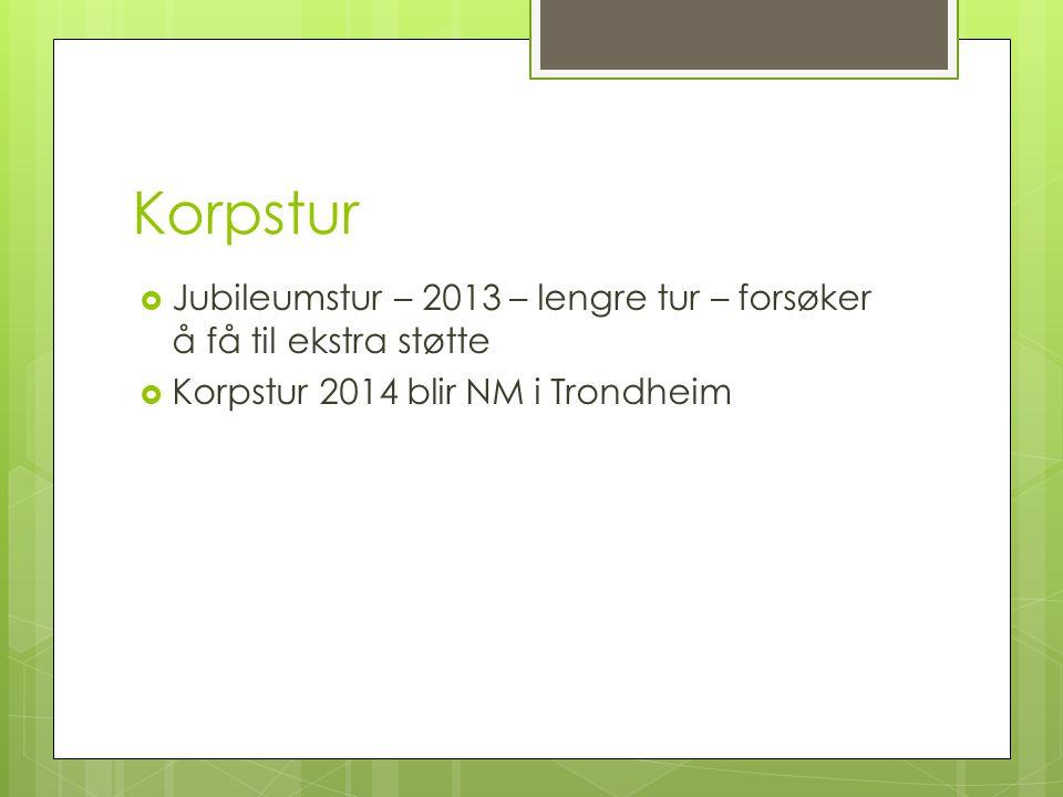 Korpstur Jubileumstur – 2013 – lengre tur – forsøker å få til ekstra støtte.