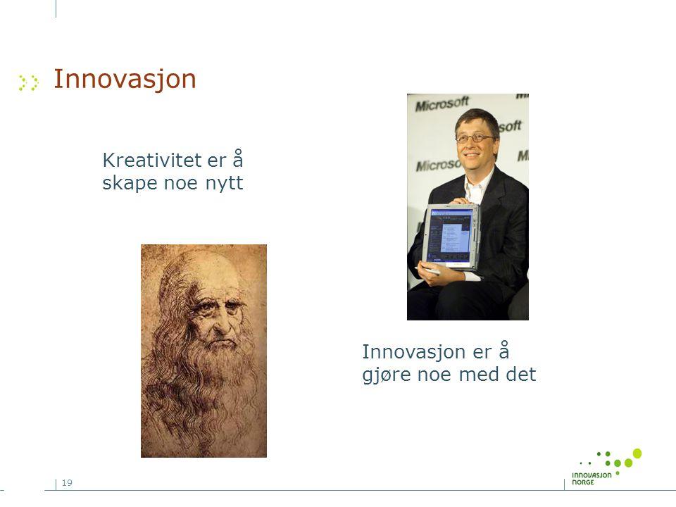 Innovasjon Kreativitet er å skape noe nytt Innovasjon er å
