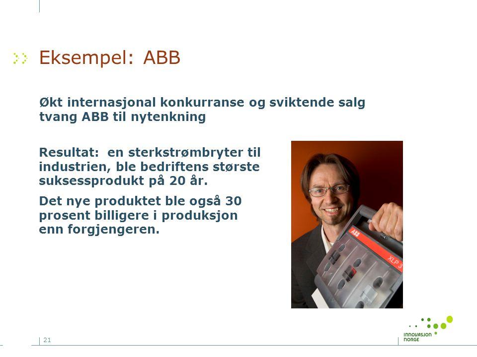 Eksempel: ABB Økt internasjonal konkurranse og sviktende salg tvang ABB til nytenkning.