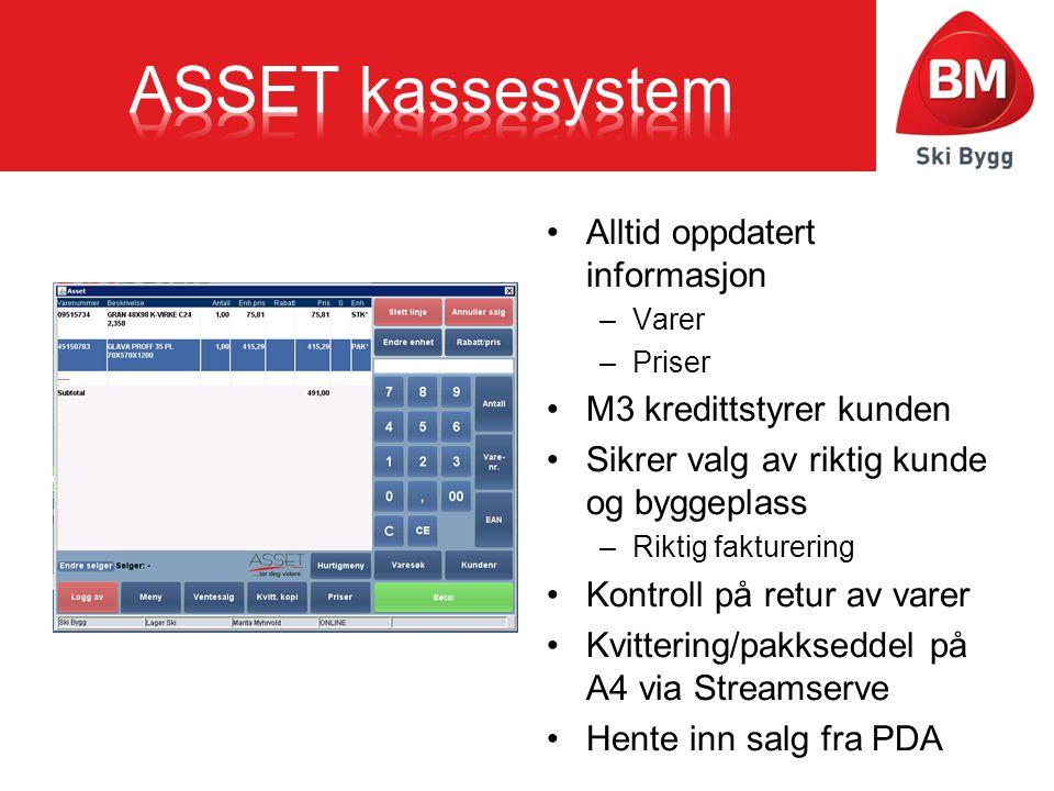 ASSET kassesystem Alltid oppdatert informasjon M3 kredittstyrer kunden