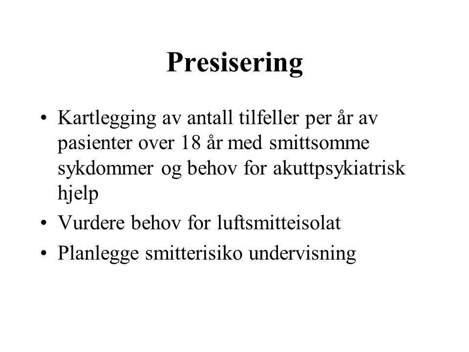 Presisering Kartlegging av antall tilfeller per år av pasienter over 18 år med smittsomme sykdommer og behov for akuttpsykiatrisk hjelp.