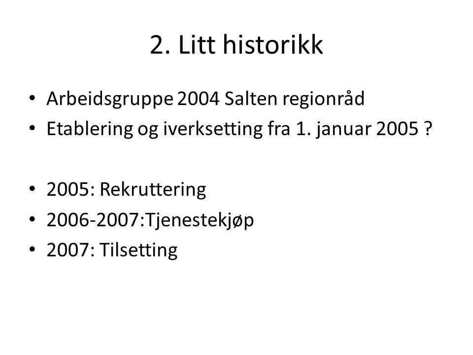 2. Litt historikk Arbeidsgruppe 2004 Salten regionråd