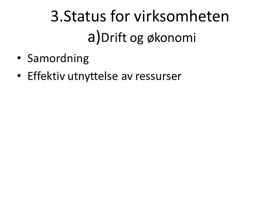 3.Status for virksomheten a)Drift og økonomi