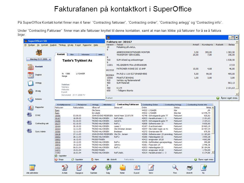 Fakturafanen på kontaktkort i SuperOffice