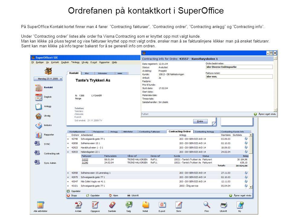 Ordrefanen på kontaktkort i SuperOffice