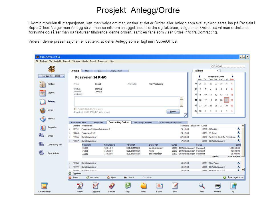 Prosjekt Anlegg/Ordre