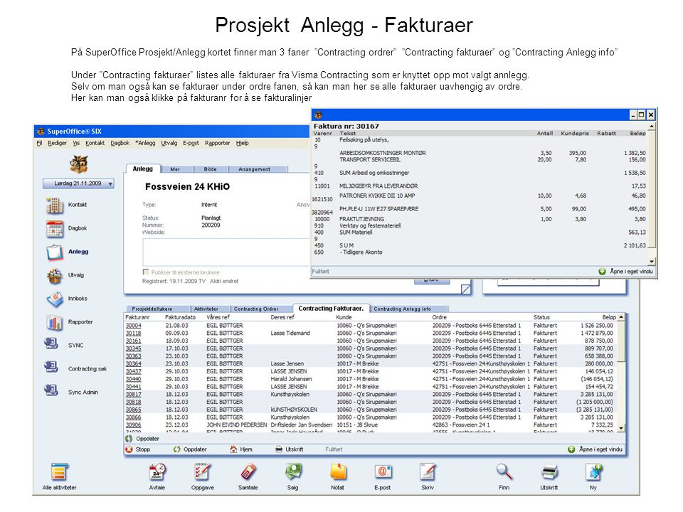 Prosjekt Anlegg - Fakturaer