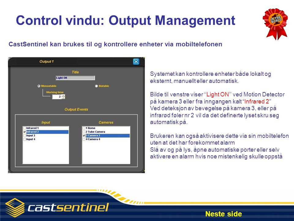 Control vindu: Output Management