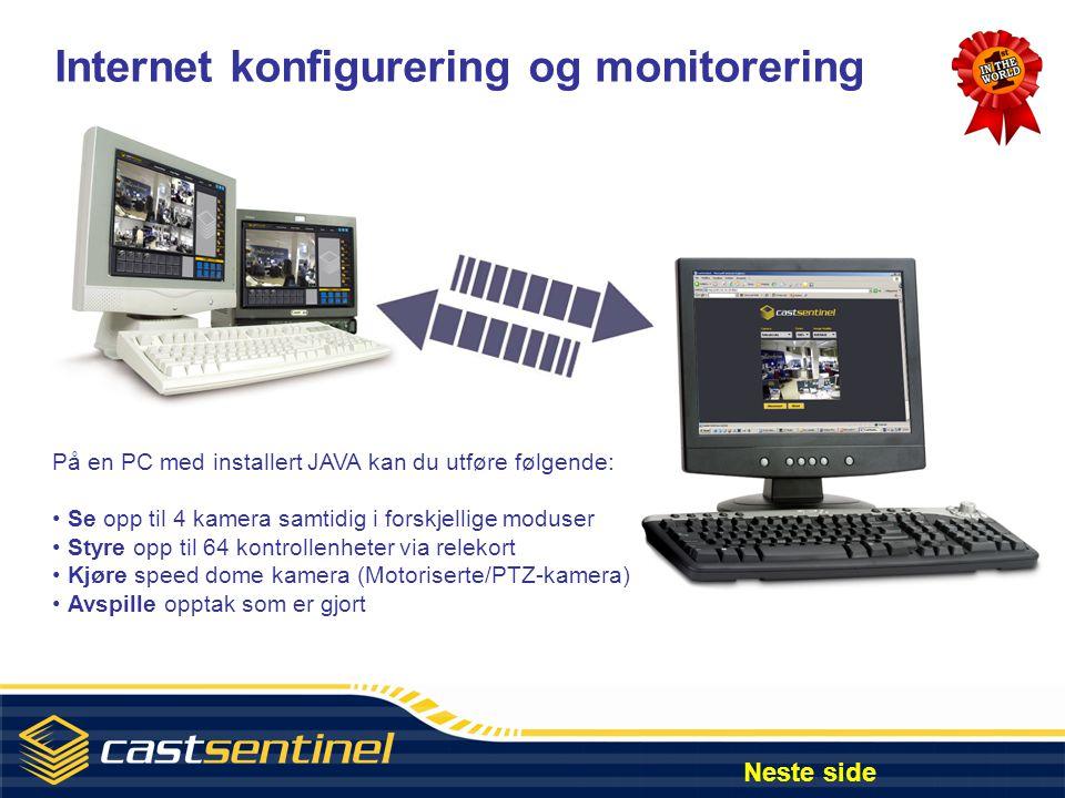 Internet konfigurering og monitorering