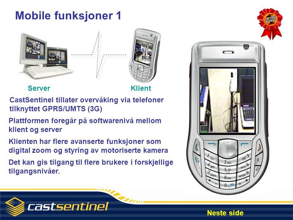 Mobile funksjoner 1 Server Klient