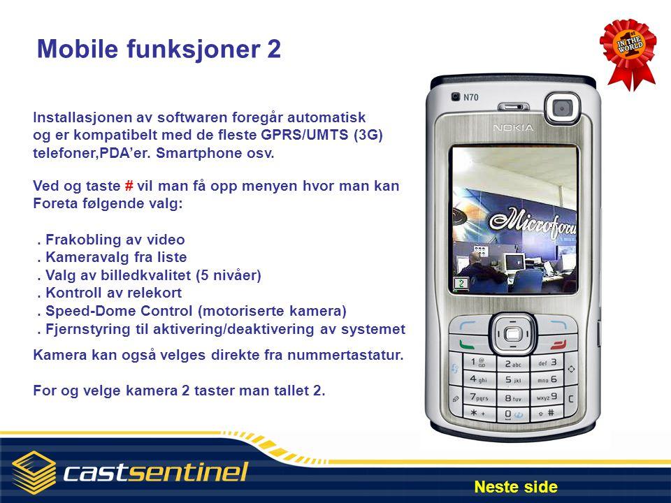 Mobile funksjoner 2 Neste side