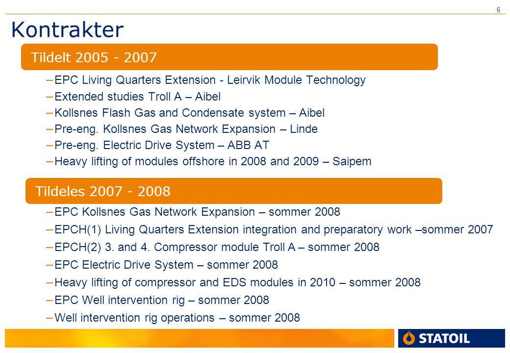 Kontrakter Tildelt 2005 - 2007 Tildeles 2007 - 2008