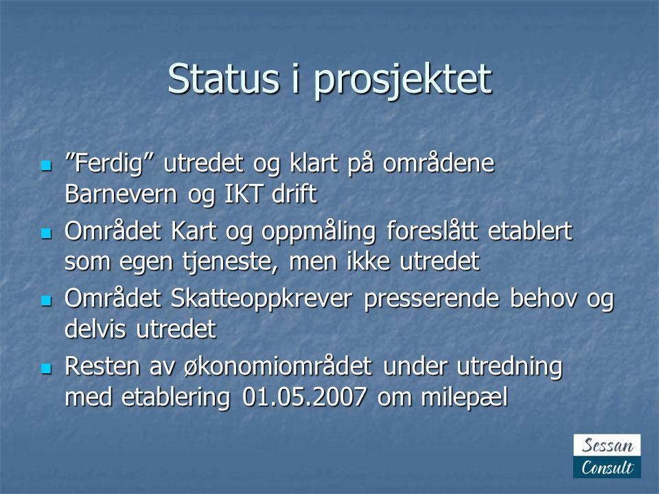 Status i prosjektet Ferdig utredet og klart på områdene Barnevern og IKT drift.