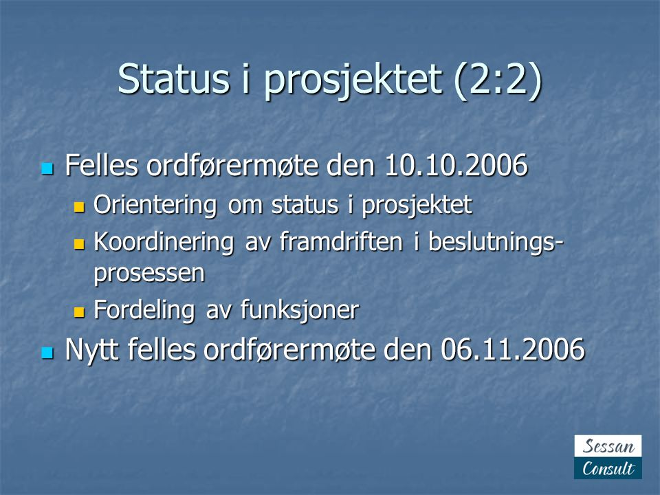 Status i prosjektet (2:2)