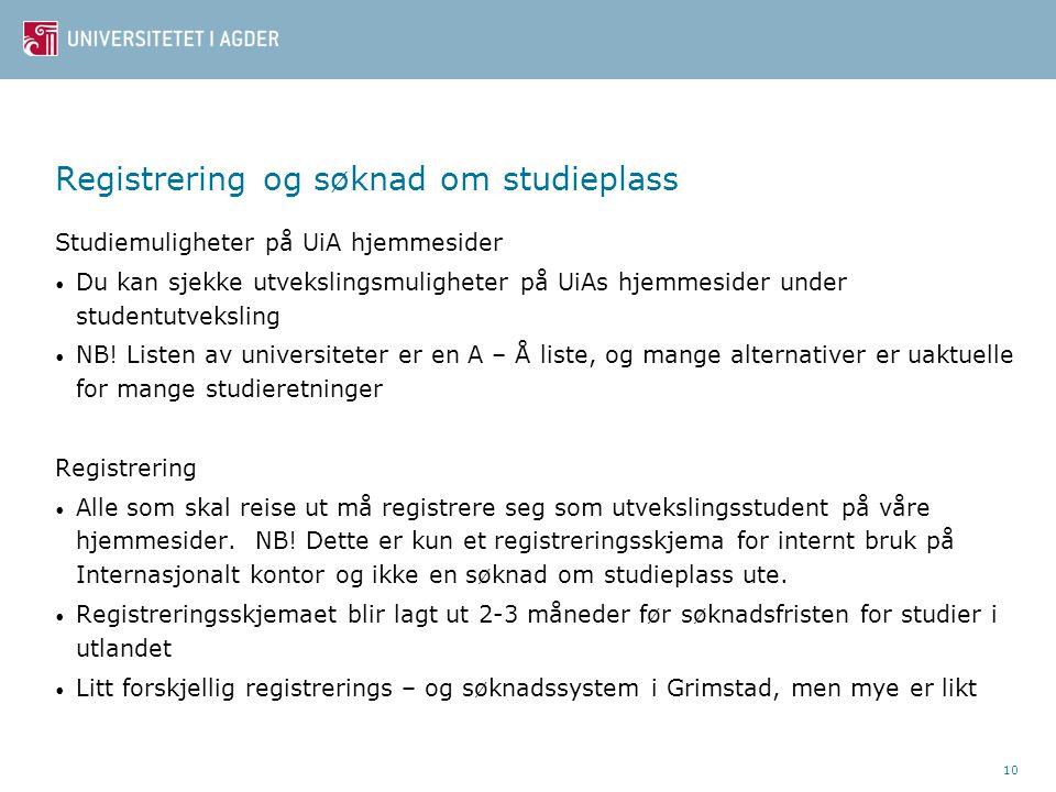 Registrering og søknad om studieplass