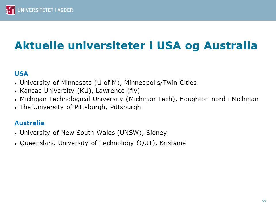 Aktuelle universiteter i USA og Australia