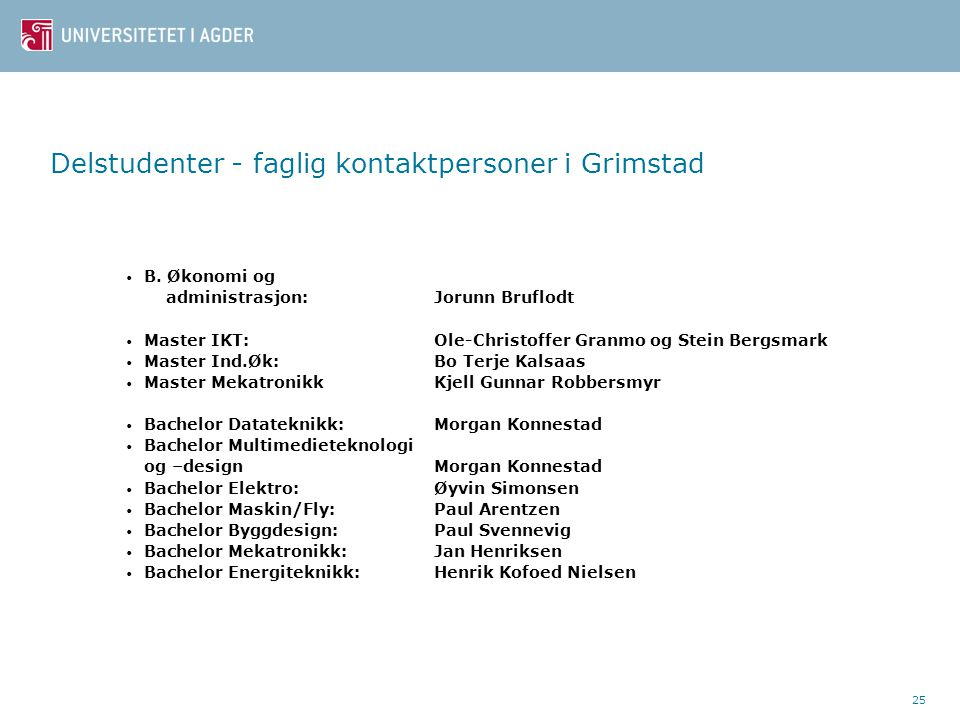 Delstudenter - faglig kontaktpersoner i Grimstad