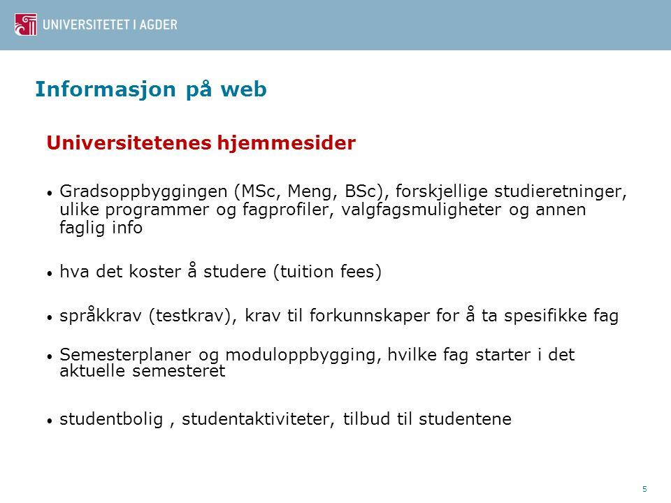 Informasjon på web Universitetenes hjemmesider