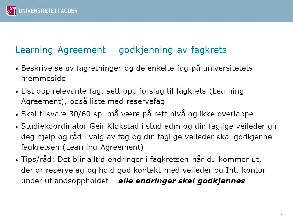 Learning Agreement – godkjenning av fagkrets