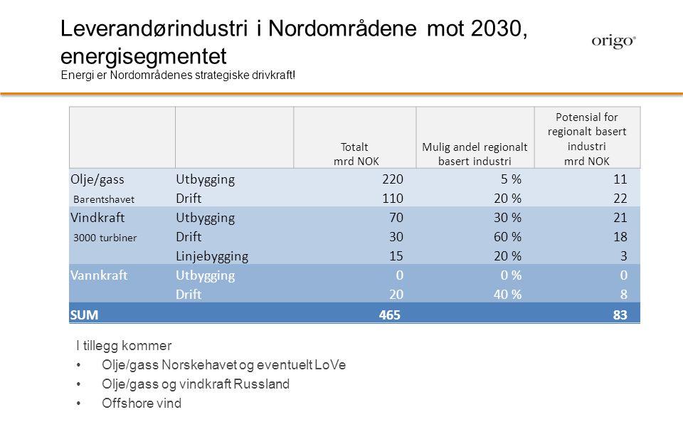 Leverandørindustri i Nordområdene mot 2030, energisegmentet