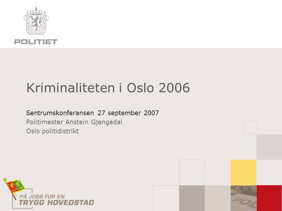 Kriminaliteten i Oslo 2006 Sentrumskonferansen 27 september 2007
