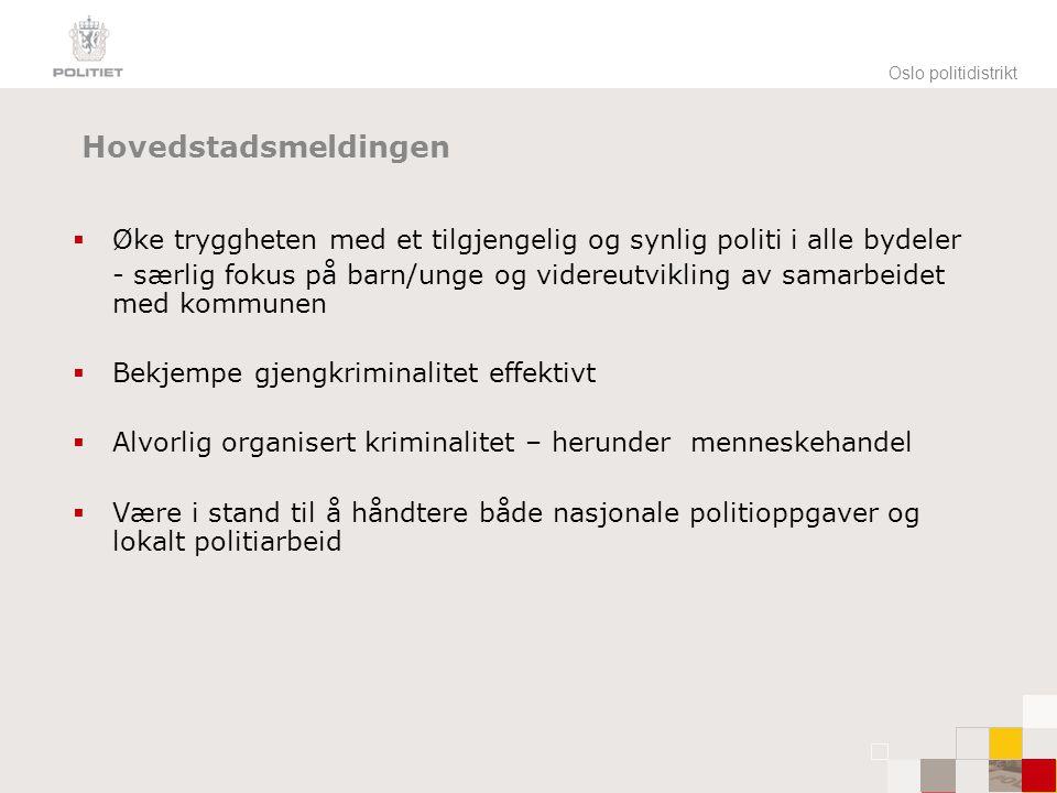 Oslo politidistrikt Hovedstadsmeldingen. Øke tryggheten med et tilgjengelig og synlig politi i alle bydeler.
