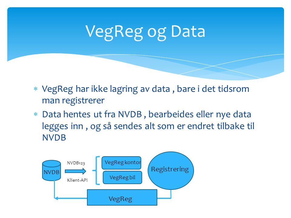 VegReg og Data VegReg har ikke lagring av data , bare i det tidsrom man registrerer.