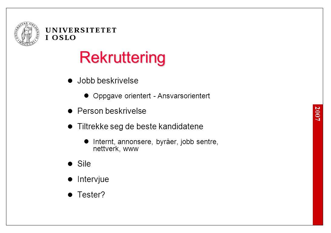 Før Ny-rekruttering 'Outsourcing' Reorganisering