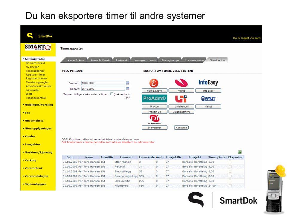 Du kan eksportere timer til andre systemer
