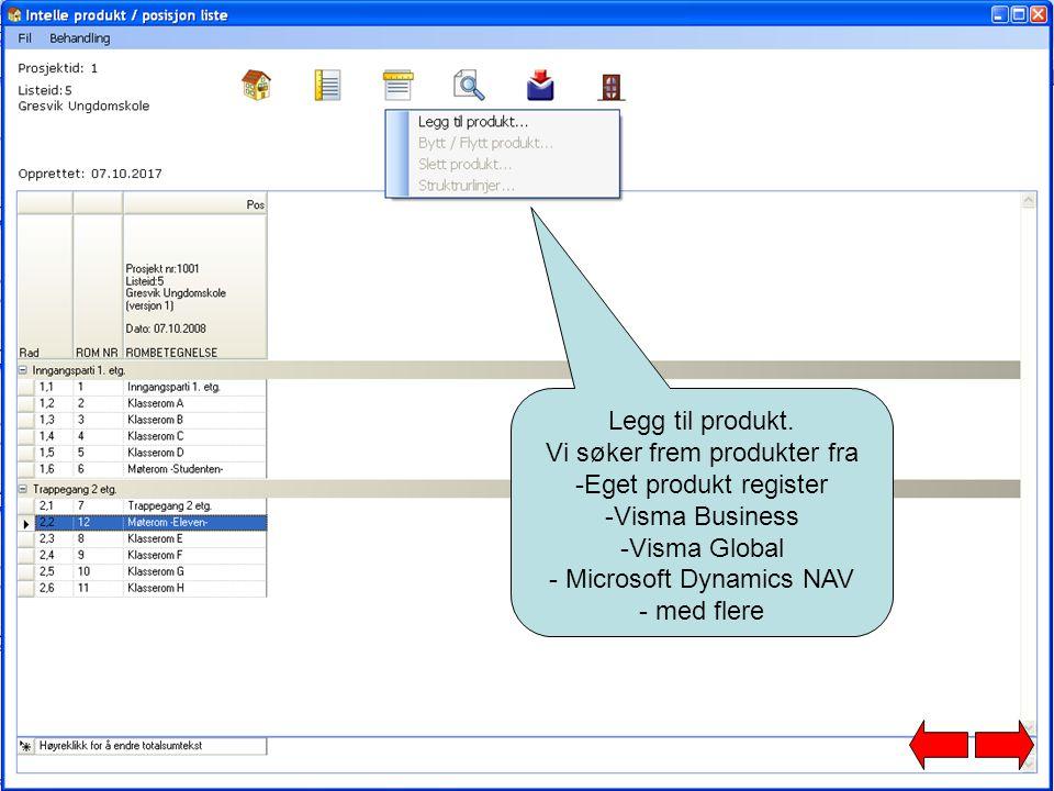 Vi søker frem produkter fra Eget produkt register Visma Business