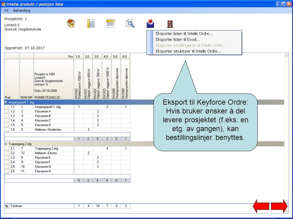 Eksport til Keyforce Ordre: