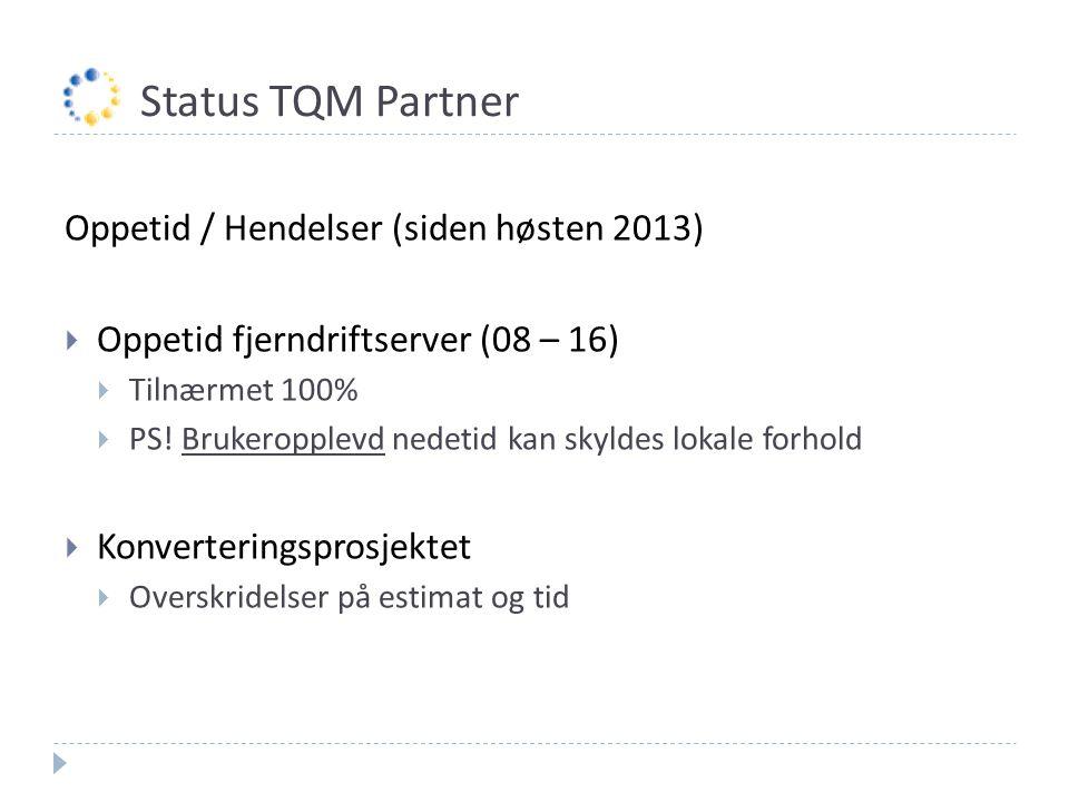 Status TQM Partner Oppetid / Hendelser (siden høsten 2013)