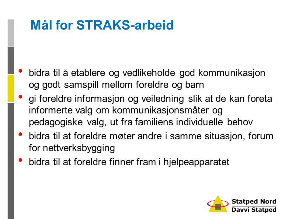 Mål for STRAKS-arbeid bidra til å etablere og vedlikeholde god kommunikasjon og godt samspill mellom foreldre og barn.