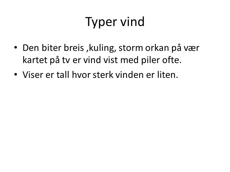 Typer vind Den biter breis ,kuling, storm orkan på vær kartet på tv er vind vist med piler ofte.