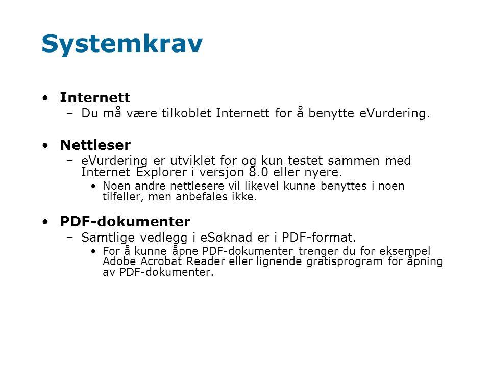 Systemkrav Internett Nettleser PDF-dokumenter