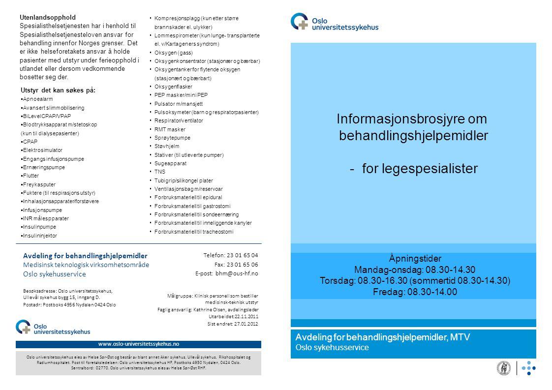 Informasjonsbrosjyre om behandlingshjelpemidler - for legespesialister