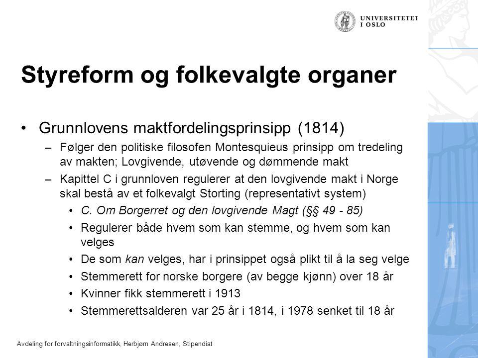 Styreform og folkevalgte organer