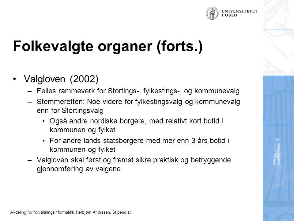 Folkevalgte organer (forts.)
