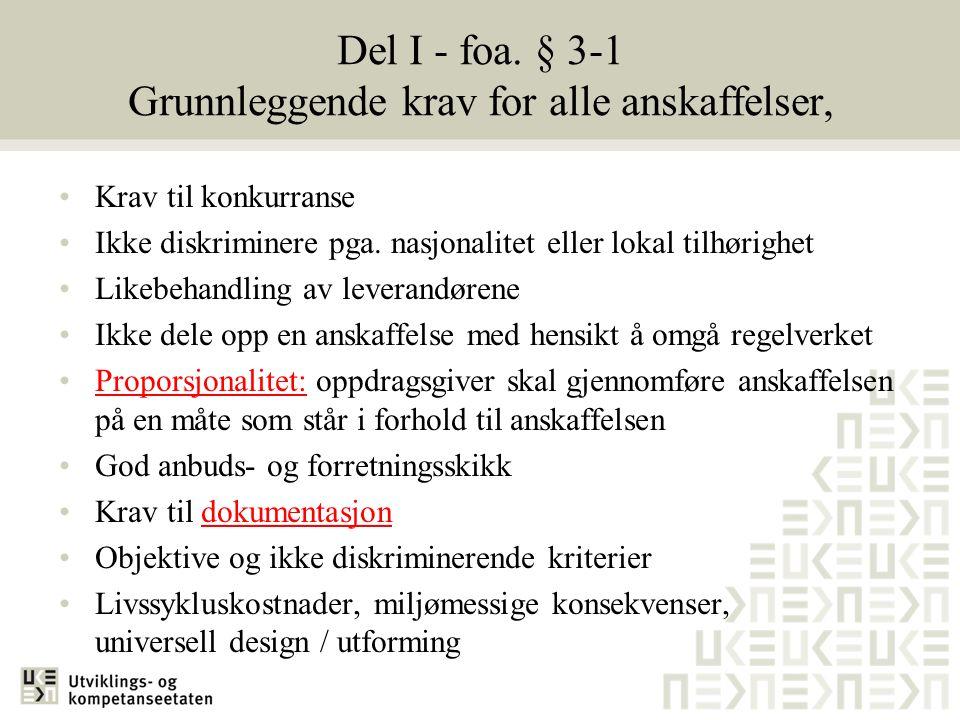 Del I - foa. § 3-1 Grunnleggende krav for alle anskaffelser,