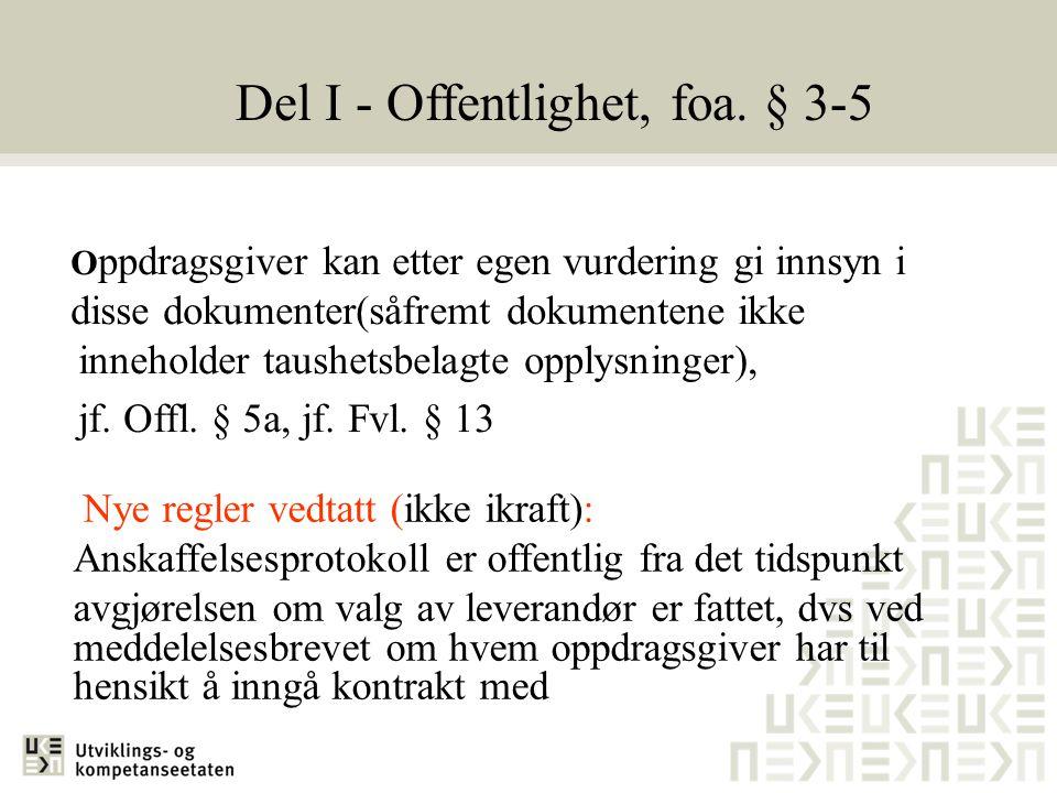 Del I - Offentlighet, foa. § 3-5